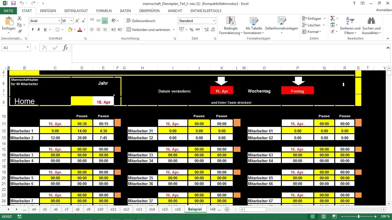 Mannschaftsdienstplan